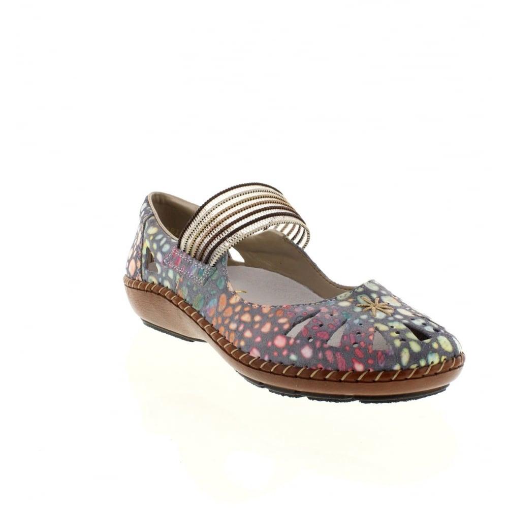 Rieker 44865 10 Ladies Blue Combination Slip On Shoes