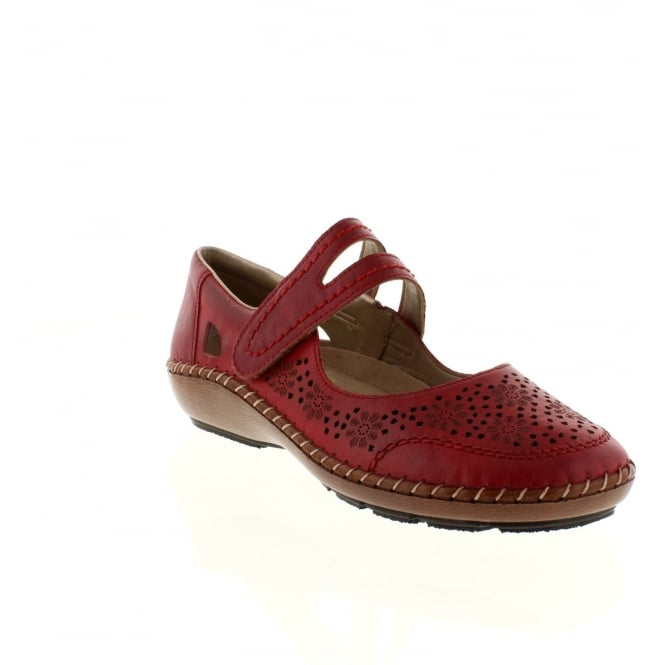 Rieker 44875-33 Ladies Red Velcro shoes