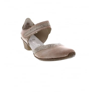 Rieker 49780-40 Ladies taupe combination shoes