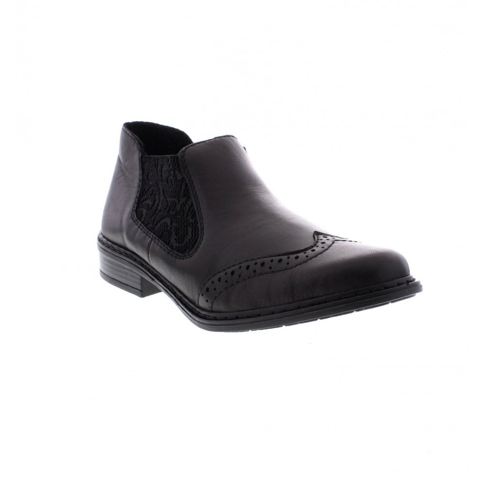 75ba810d49 Rieker 52093-00 Ladies Black Elastic ankle boots - Rieker Ladies from Rieker  UK