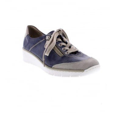 f4286280a31e4d Rieker 53721-41 Ladies Blue Combination Shoes - Rieker Ladies from Rieker UK