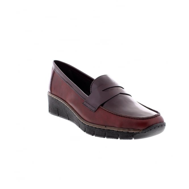 Rieker 53732-35 Ladies Red Slip on Shoe
