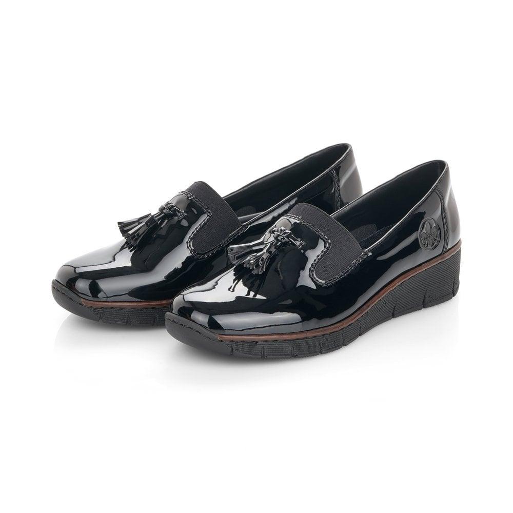 Rieker 53751-00 Ladies Black Slip On