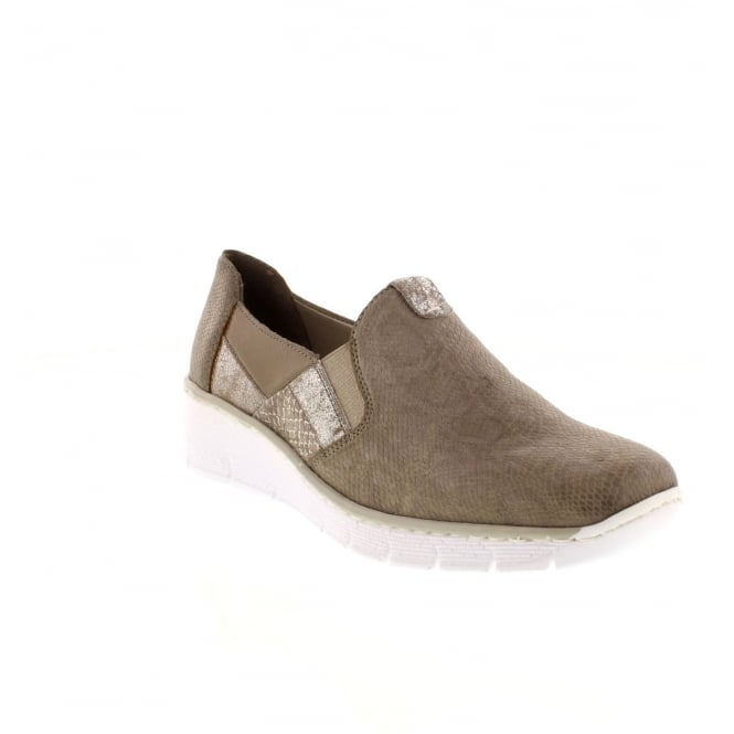 Rieker 53754-64 Ladies beige combination Slip on shoes