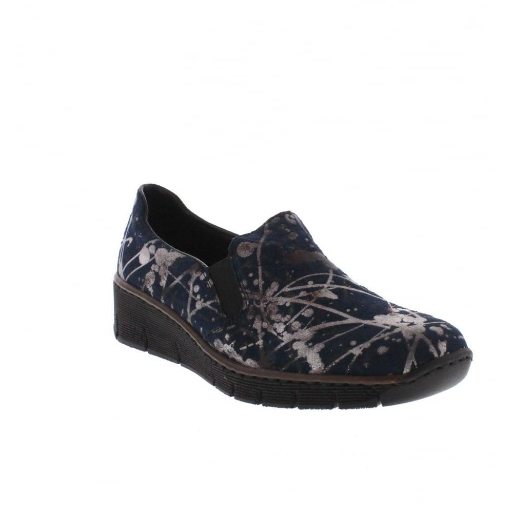 Rieker 53766-91 Womens Blue combination slip on shoe - Rieker Ladies ... 26c83e6a46