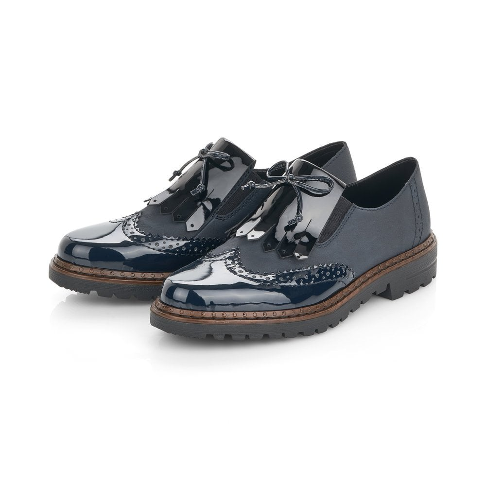 Rieker Slip On Brogue Loafer Shoes Navy Patent White Silver Anti Stress Comfort