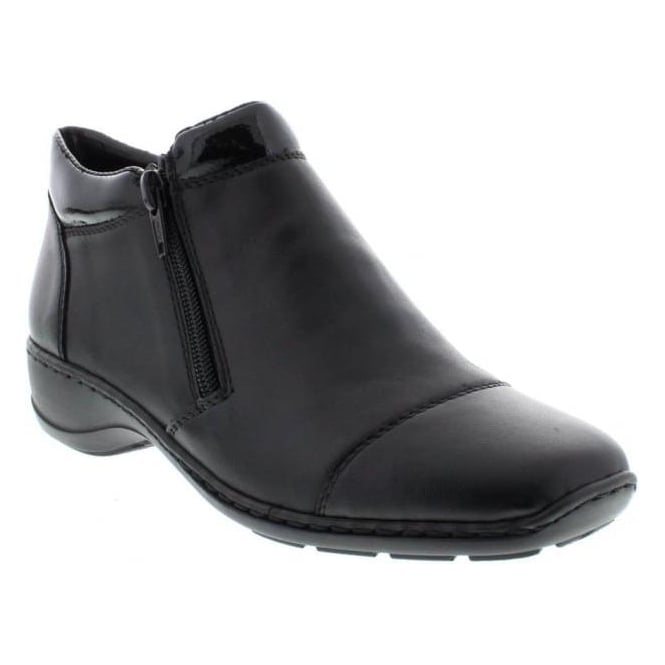 Rieker 58374-00 Ladies Black Zipper ankleboots
