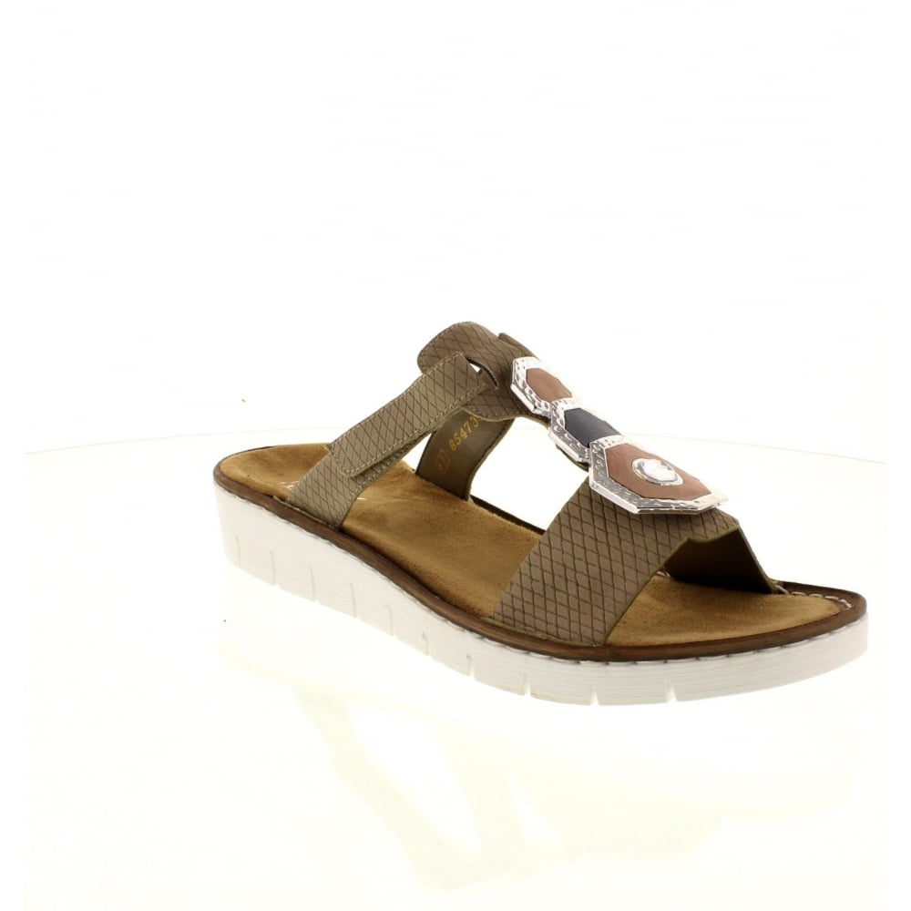 9cc647170f3 Rieker 60053-60 Ladies Beige hook and loop sandals - Rieker Ladies from Rieker  UK