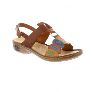 71320dfb4e Rieker 60174-24 Ladies Brown Combination Sandals