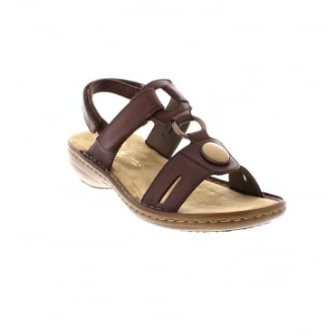 Rieker 60874-26 Ladies brown sandals