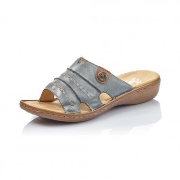 echt kaufen abholen Waren des täglichen Bedarfs Rieker 60876-12 Ladies Blue Slip On Sandals - Rieker Ladies from ...