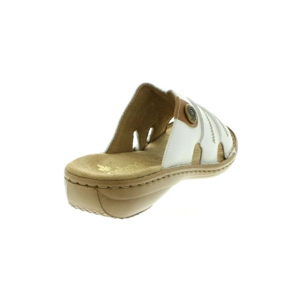 60876 80 Ladies White Slip on sandals