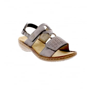 60887-40 Metallic Grey Ladies' Sandals