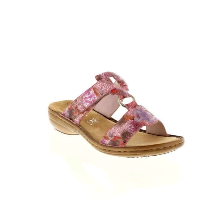 Rieker 608A0-31 Ladies Pink Combination hook and loop sandals