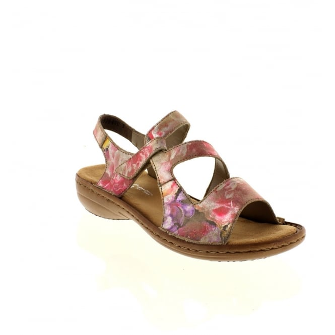 Rieker 608B1-90 Ladies Multicoloured/Metallic Velcro,Sling Back sandals