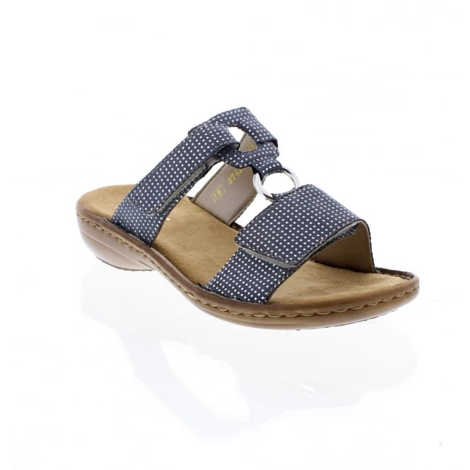 Rieker 608P9-12 Ladies blue slip on sandal
