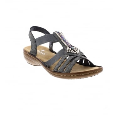 Rieker 608S1-42 Ladies' Grey sling back sandals