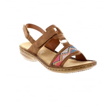 Rieker 608Y0-22 ladies' brown sandals