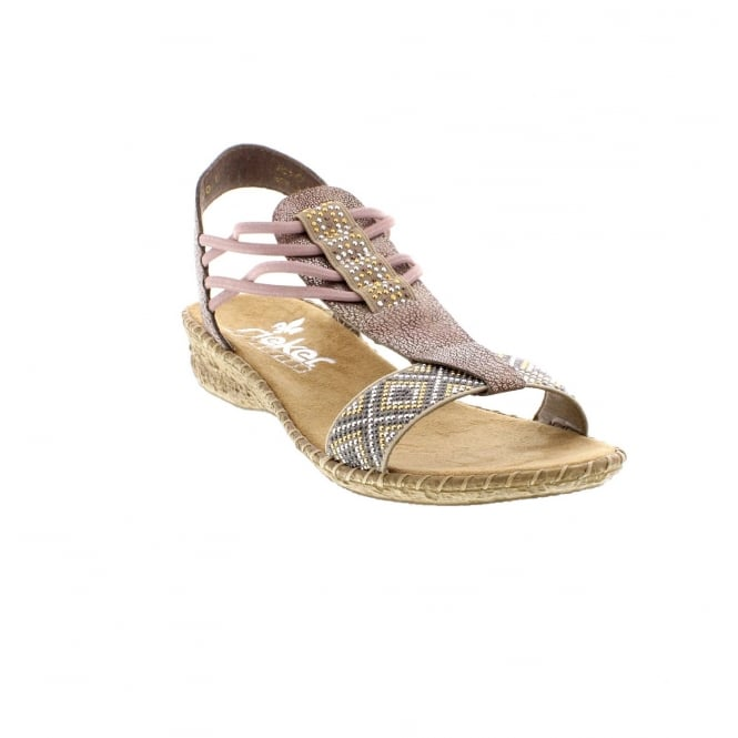 Rieker 61662-60 Ladies' beige combination sandals