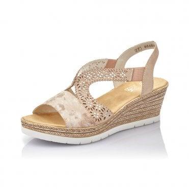 Rieker 61916-31 Ladies Elasticated Wedge Heel Cut Out Summer Sandals Rose Pink