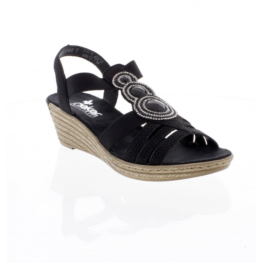 dcf8ab9c4430 Rieker 62459-00 Black Ladies  sandals - Rieker Ladies from Rieker UK