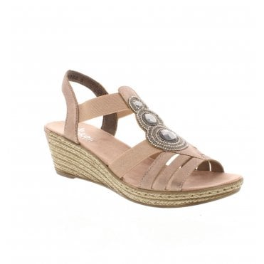 44a912d499d Rieker 62459-31 Ladies Rose Gold Sandals