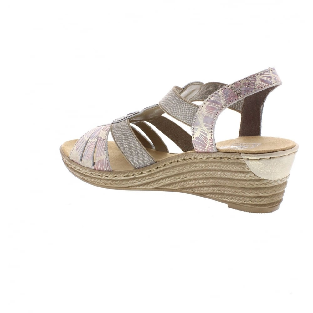 62459 92 Ladies Multi Colour Sling Back Sandals