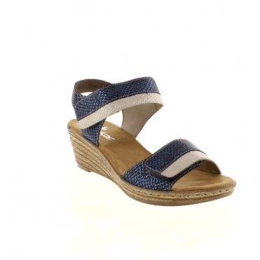 Rieker 62470-14 Ladies Blue hook and loop sandals