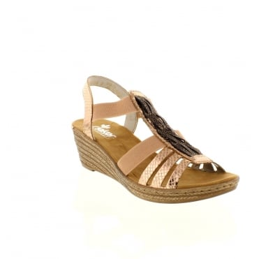 Rieker 62479-90 Ladies Multi-coloured/Metallic Slip on sandals