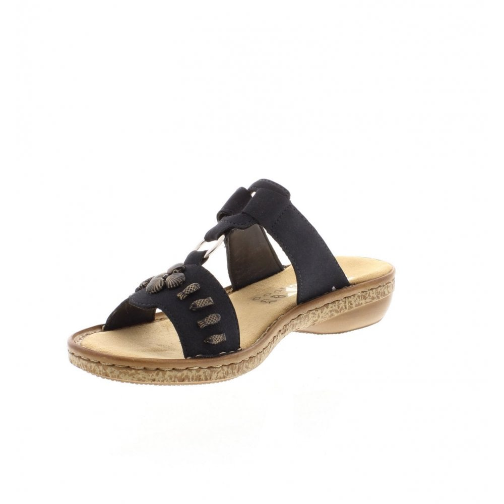 cb5e87350df0d Rieker 62891-14 Ladies Dark Blue Slip On Sandals - Rieker Ladies ...