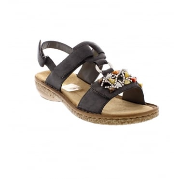 Rieker 628D7-45 ladies grey combination sandals