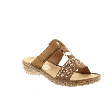 41d751a2db68 628M0-22 Ladies Brown Slip On Sandals