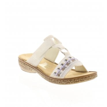 b76a3b3599 Rieker 628M6-80 Ladies White Slip On Sandals