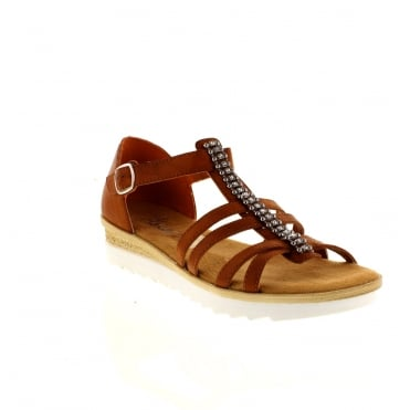 Rieker 63128-24 Ladies Brown Buckle sandals