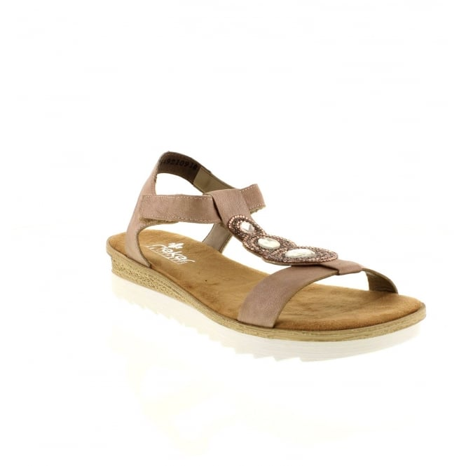 Rieker 63184-62 Ladies Beige Velcro sandals