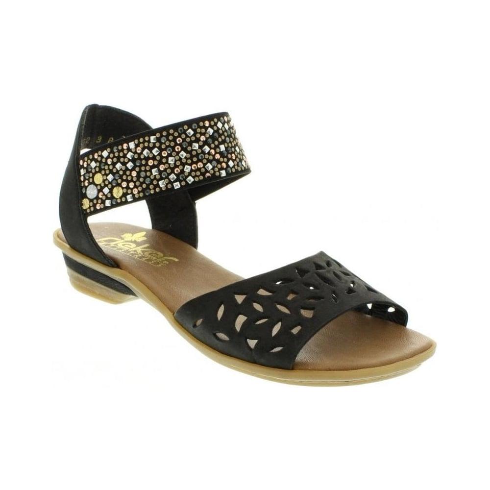 cb825b4cba3f Rieker 63499-01 Ladies Black Slip on sandals - Rieker Ladies from Rieker UK