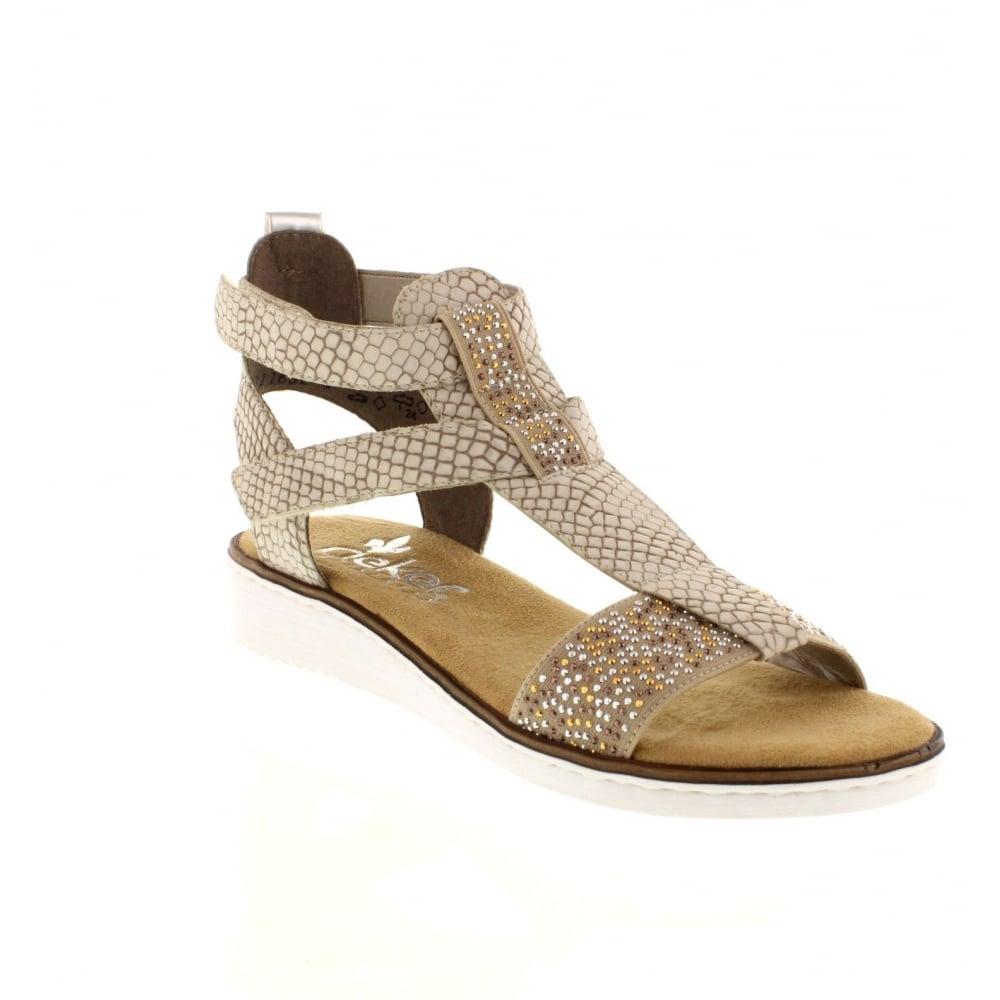 Rieker 63661-60 hook and loop beige Ladies' sandals