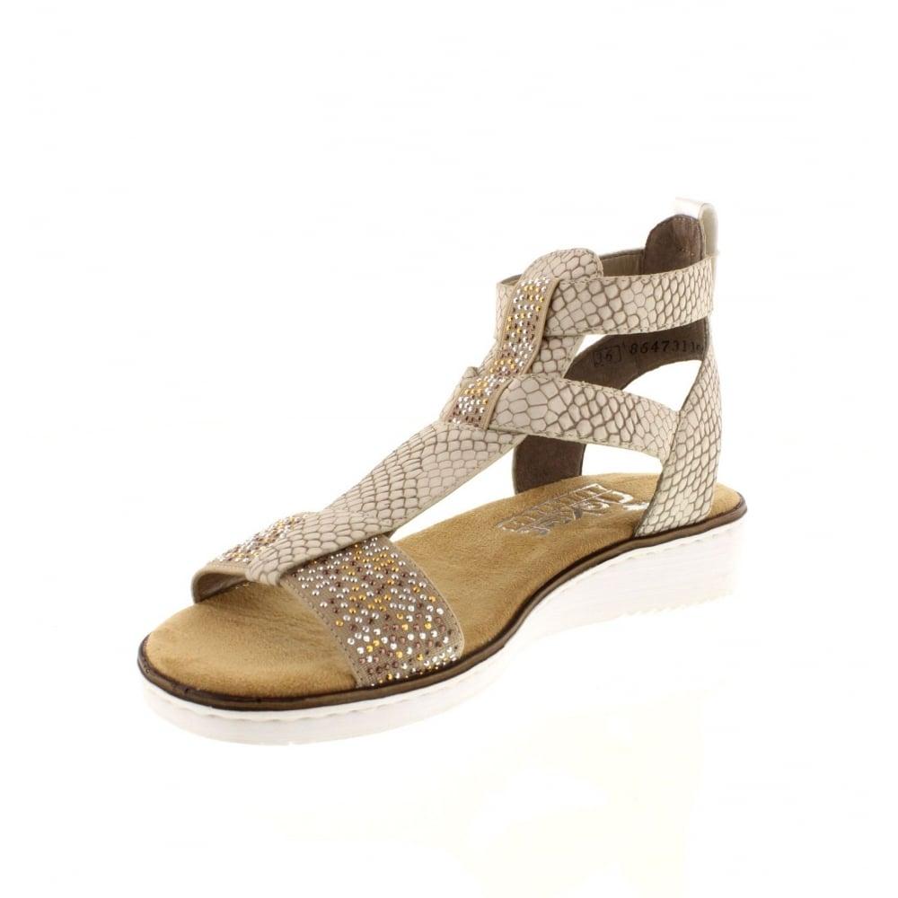 63661 60 hook and loop beige Ladies' sandals