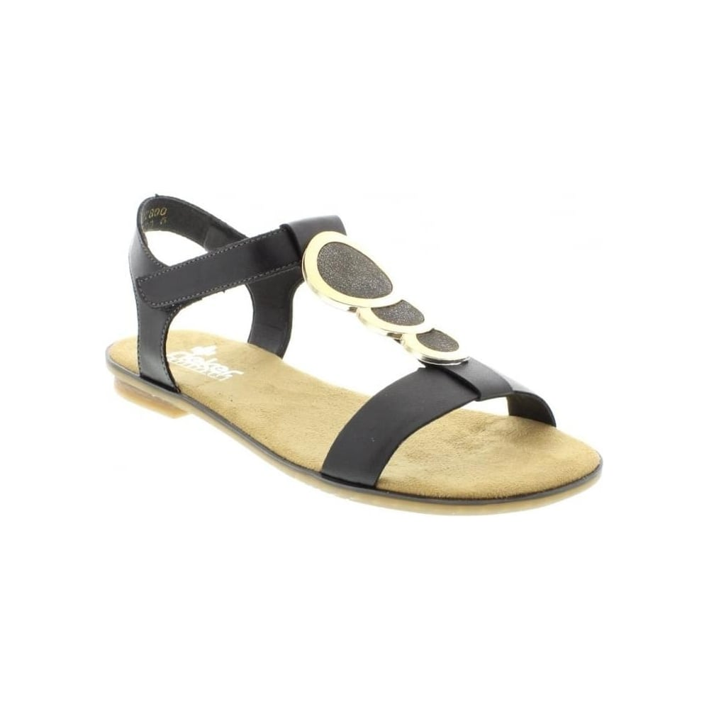 Rieker 64278 00 Ladies Black Velcro Sandals Rieker