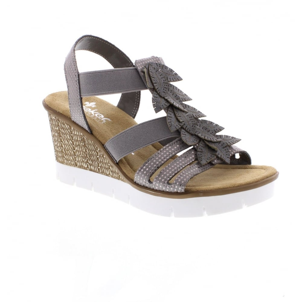 89d3a8bebf065a Rieker 65505-42 Ladies' Grey combination wedge sandals - Rieker ...