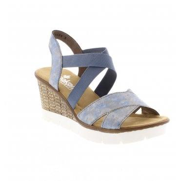 e3cff26ece7 Rieker 65532-12 Ladies Blue Wedge Sandals