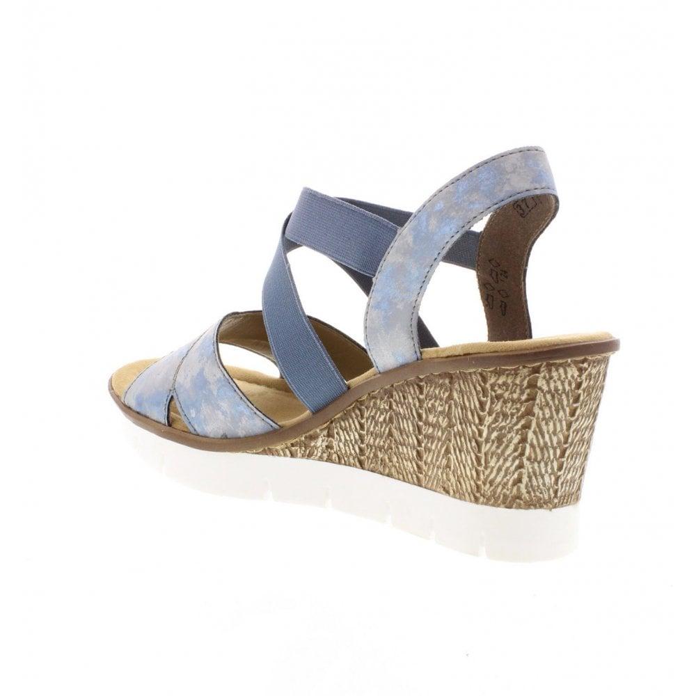 65532 12 Ladies Blue Wedge Sandals
