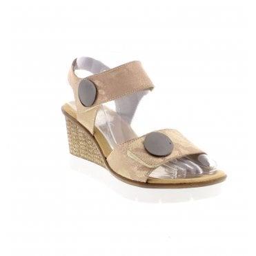 b2d88e694e Rieker 65569-31 Ladies Metallic Pink Wedge Sandals