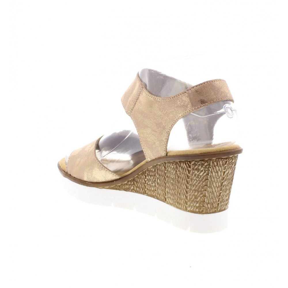 5cf0725bca3 Rieker 65569-31 Ladies Metallic Pink Wedge Sandals - Rieker Ladies ...