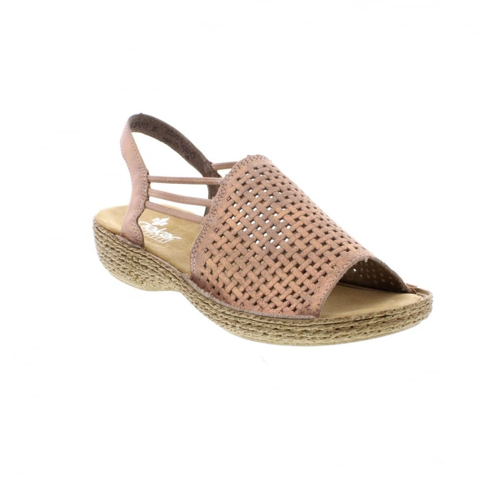 bb3b3bbffcc26 Rieker 65845-31 Ladies Rose Gold Sandals