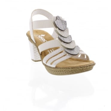 Rieker 66514-80 Ladies' white sandals