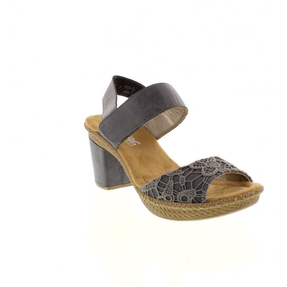 66561 14 Ladies Blue hook and loop sandals