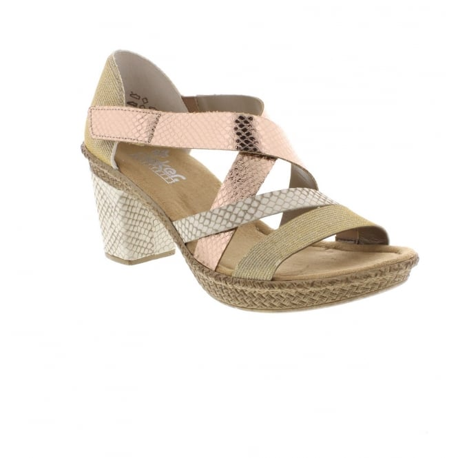 Rieker 66581-90 Ladies' sandals in Metallic