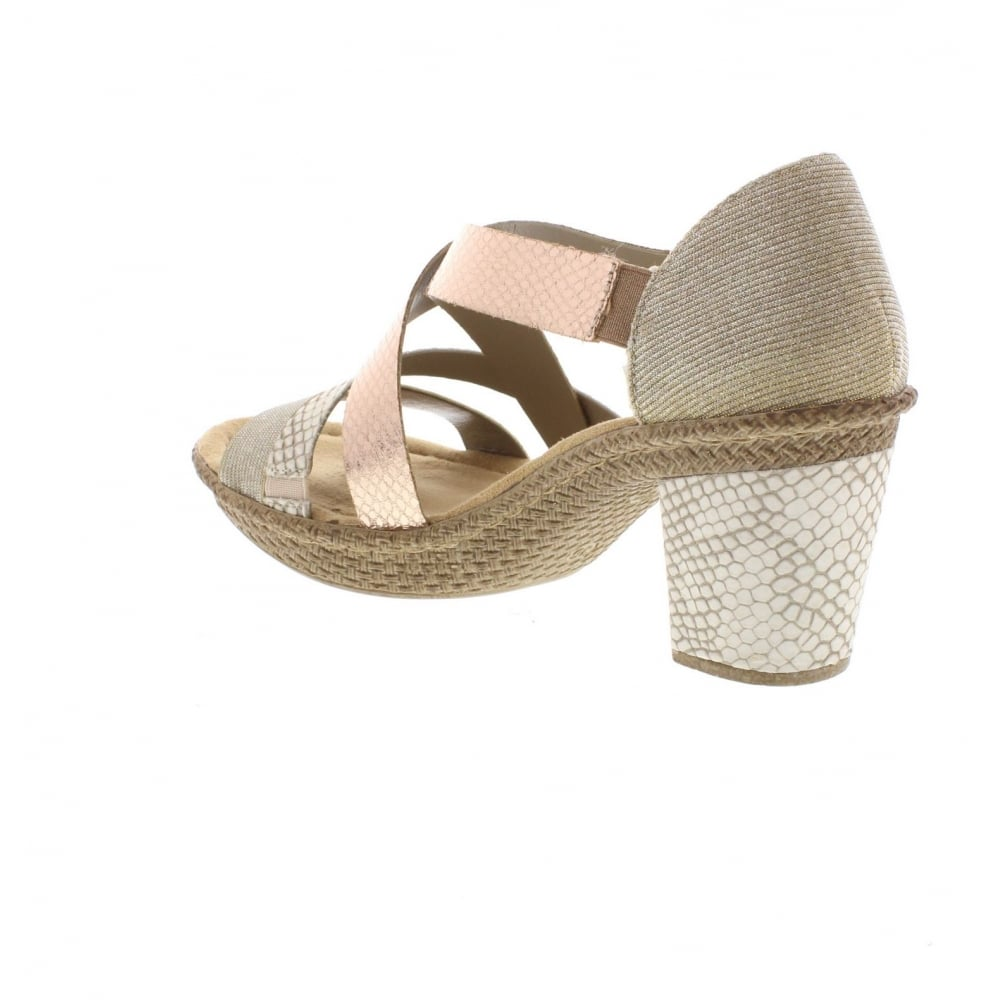 82f5f6402e5a Rieker 66581-90 Ladies  Sandals in Metallic - Rieker Ladies from ...