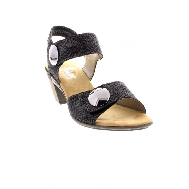 Rieker 67369-45 Ladies two part black sandals
